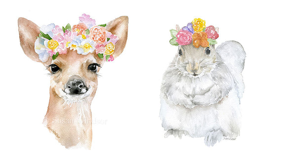Woodland Animal Floral Art Print Set - Deer, Fox, Squirrel, and Rabbit