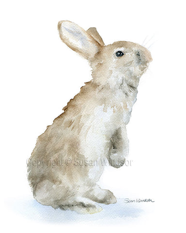 Tan Bunny Watercolor Print 4x6 - Custom Listing for KM
