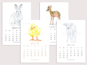2019 Animals Desk Calendar