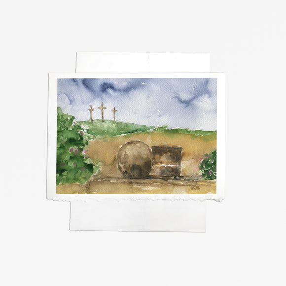 Three Crosses and the Tomb Easter Greeting Card