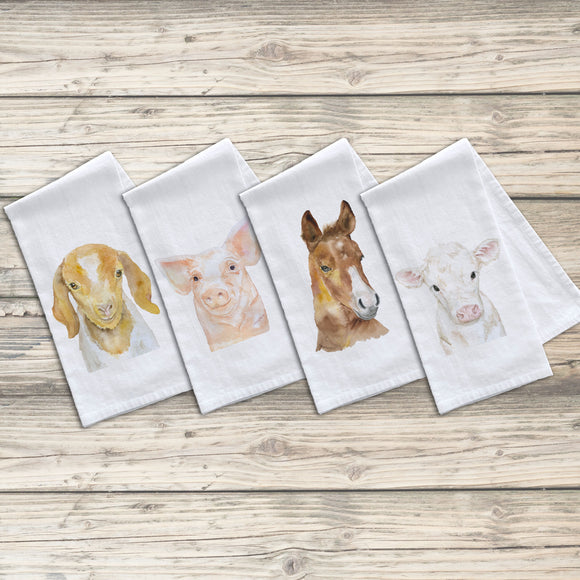Set of 4 Farm Animals Flour Sack Tea Towels