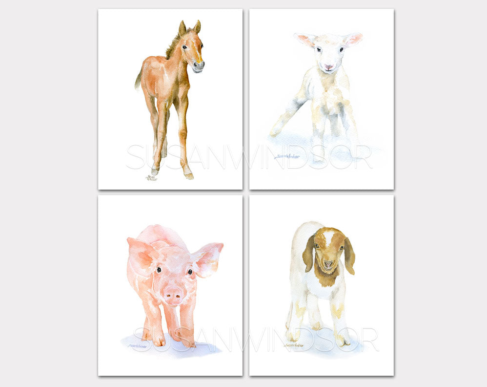 Farm Animal Art Print Set One - Set of 4 Animals - Horse Lamb Pig Goat