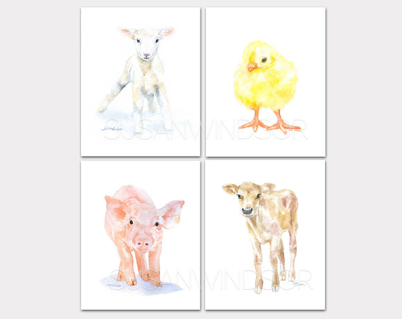 Farm Animal Art Print Set One - Set of 4 Animals - Lamb Pig Cow Chick