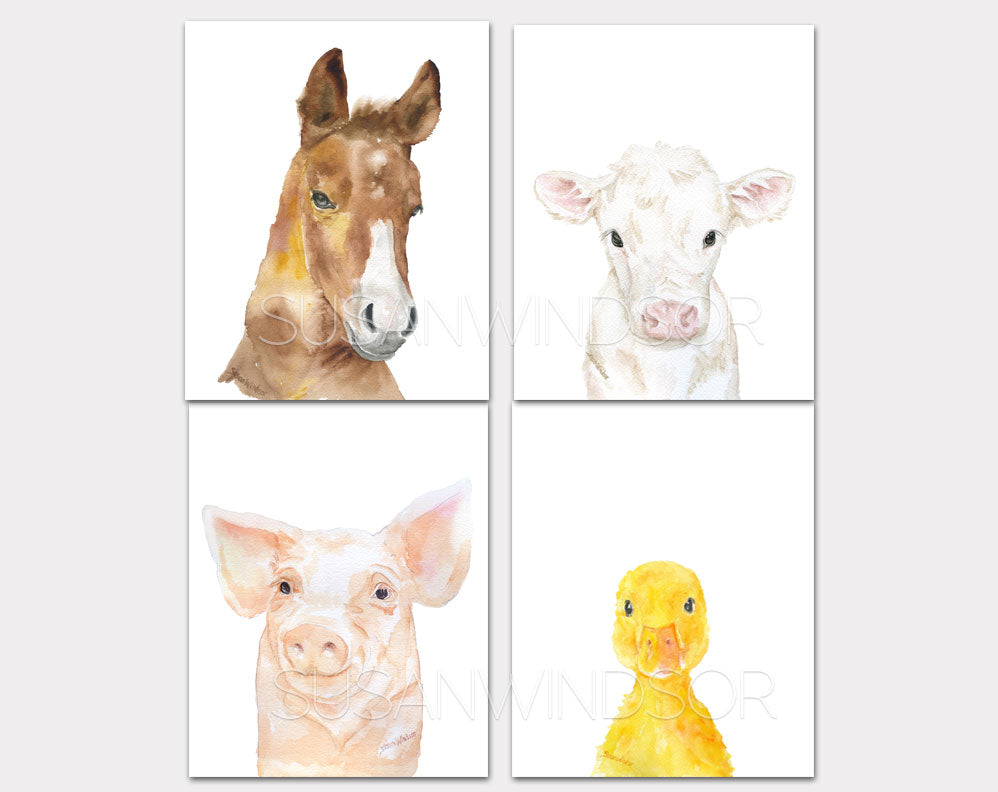 Farm Animal Art Print Set One - Set of 4 Animals - Horse Pig Duckling Calf