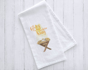 Glory to the Newborn King Manger Watercolor Tea Towel