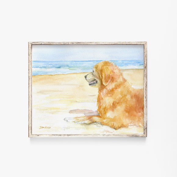 Golden Retriever on the Beach Watercolor