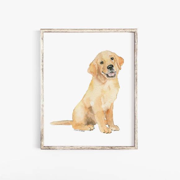 Golden Retriever Puppy Watercolor