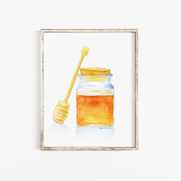 Honey Jar Watercolor Poster
