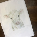 White Cow Calf Tea Towel