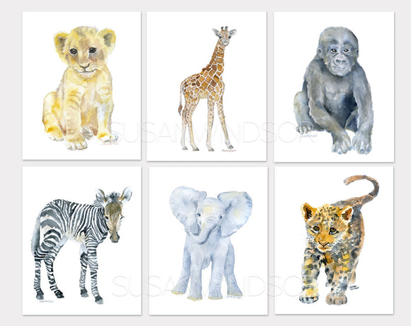 African Baby Animals Watercolor Art Print Set