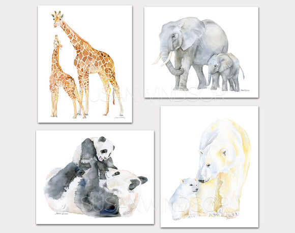 Mother and Baby Animals Watercolor Art Print Set of 4 - Nursery Wall Art