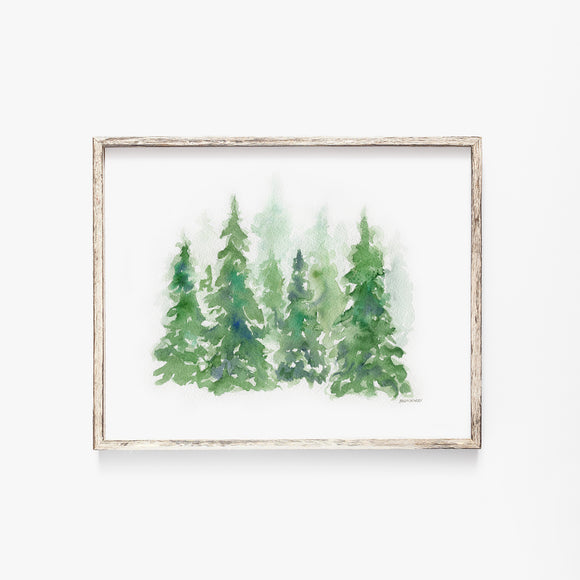Pine Trees Landscape Watercolor