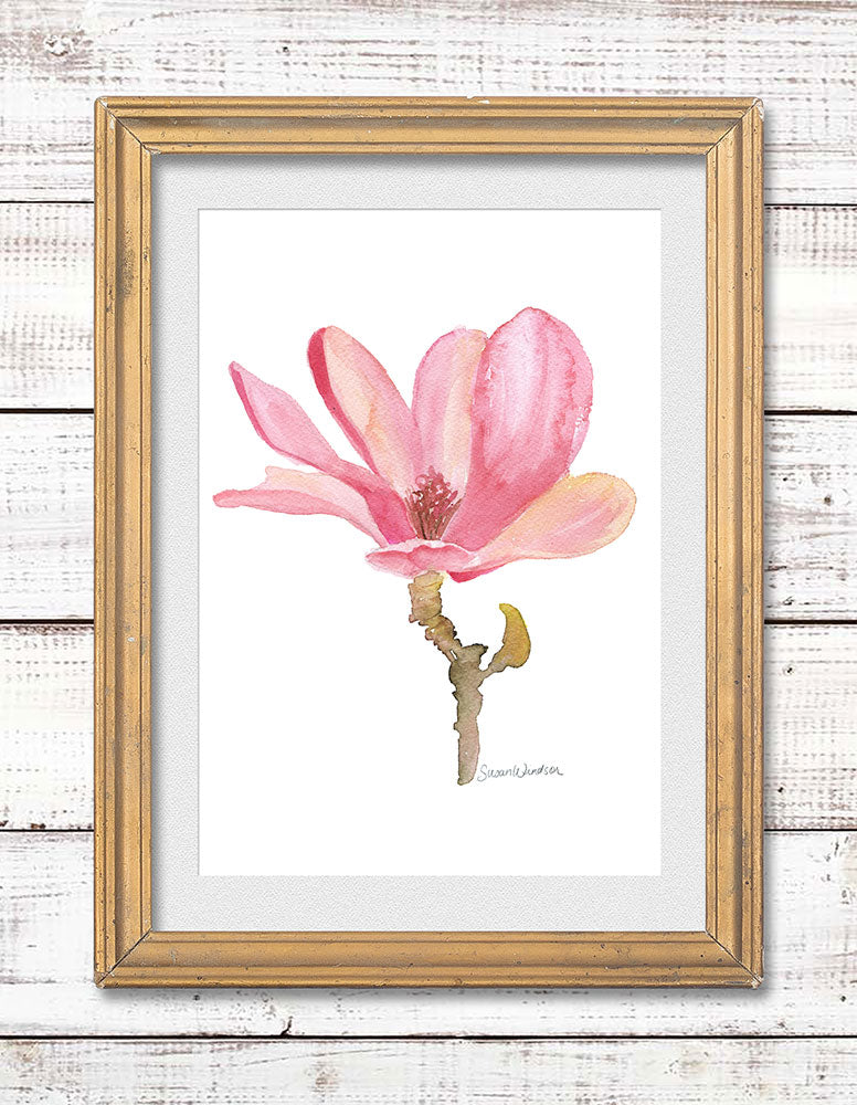 Magnolia Flower Original Watercolor Painting