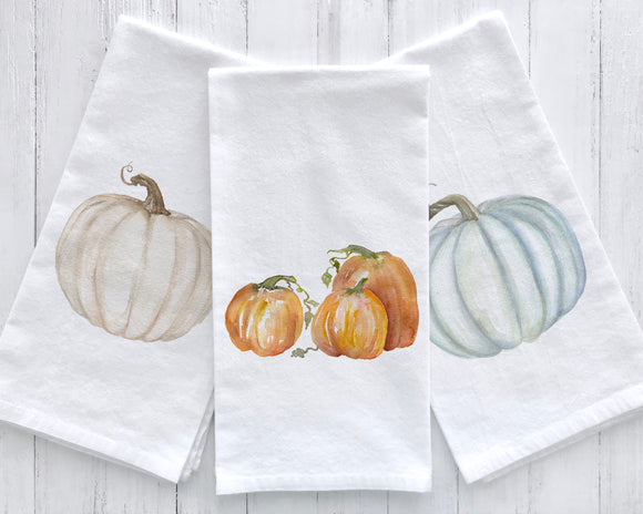 Set of 3 Pumpkin Watercolor Flour Sack Tea Towels