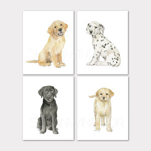 Puppy Dogs Art Prints - Set of 4 Animals - Black Lab, Golden Retriever, Dalmatian, and Yellow Lab