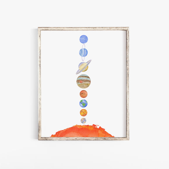 Solar System Watercolor Print