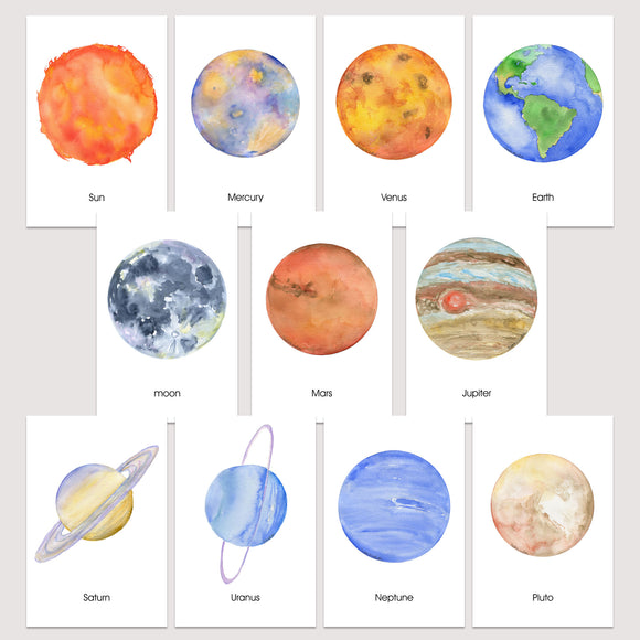 Solar System Watercolor Flash Cards