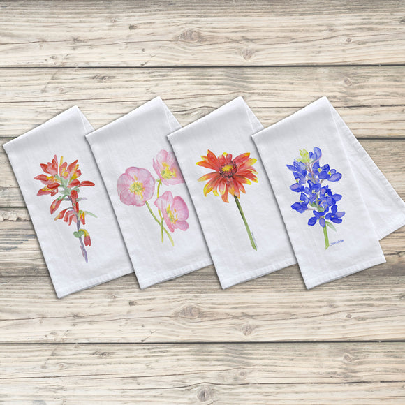 Texas Wildflower Flour Sack Tea Towels Set of 4
