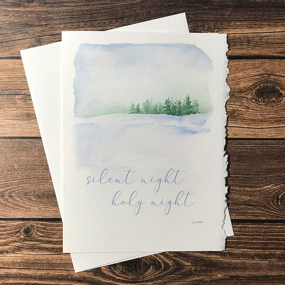Winter Landscape Watercolor Christmas Card Set