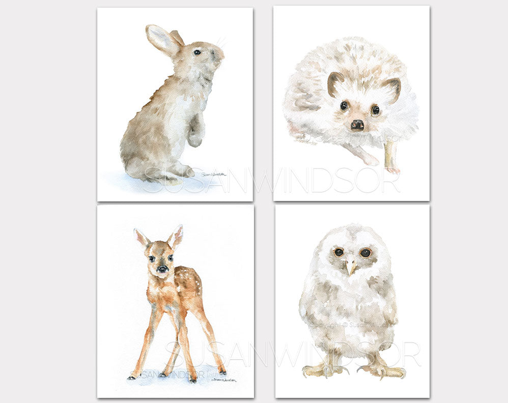 Woodland Animal Art Print Set One - Set of 4 Animals - Bunny, Deer, Hedgehog, Owl