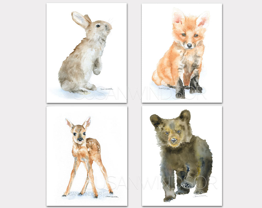 Woodland Animal Art Print Set One - Set of 4 Animals - Bunny, Fox, Deer, Bear