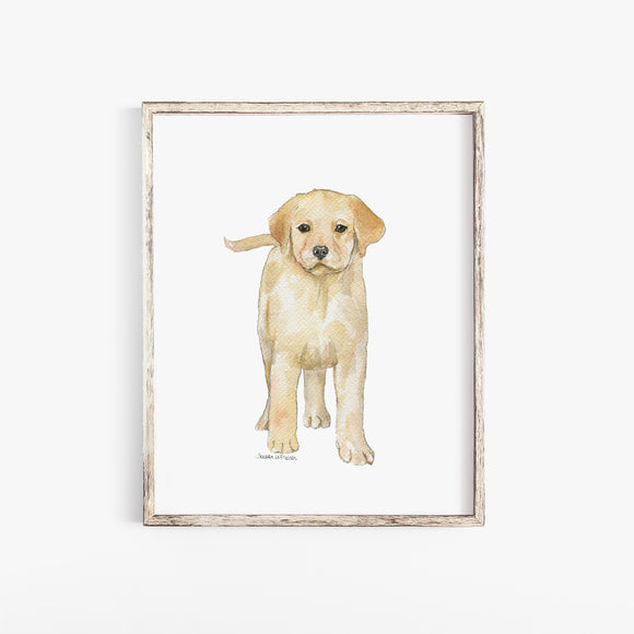 Yellow Labrador Puppy Dog Watercolor