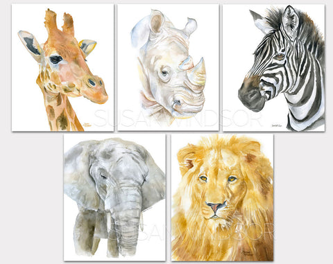 African Animals Watercolor Art Print Set