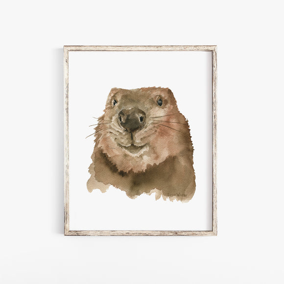 Baby Beaver Face Watercolor Poster