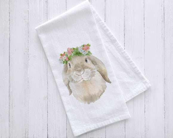 Lop Bunny Rabbit Floral Tea Towel