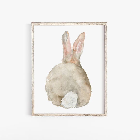 Cottontail Bunny Rabbit - Back - Watercolor Art Print