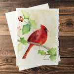 Cardinal and Holly Watercolor Christmas Card Set