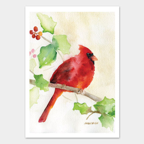 Cardinal and holly watercolor christmas card set susan for Christmas art painting ideas