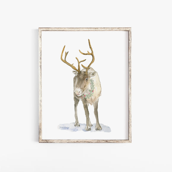 Christmas Caribou Watercolor Print