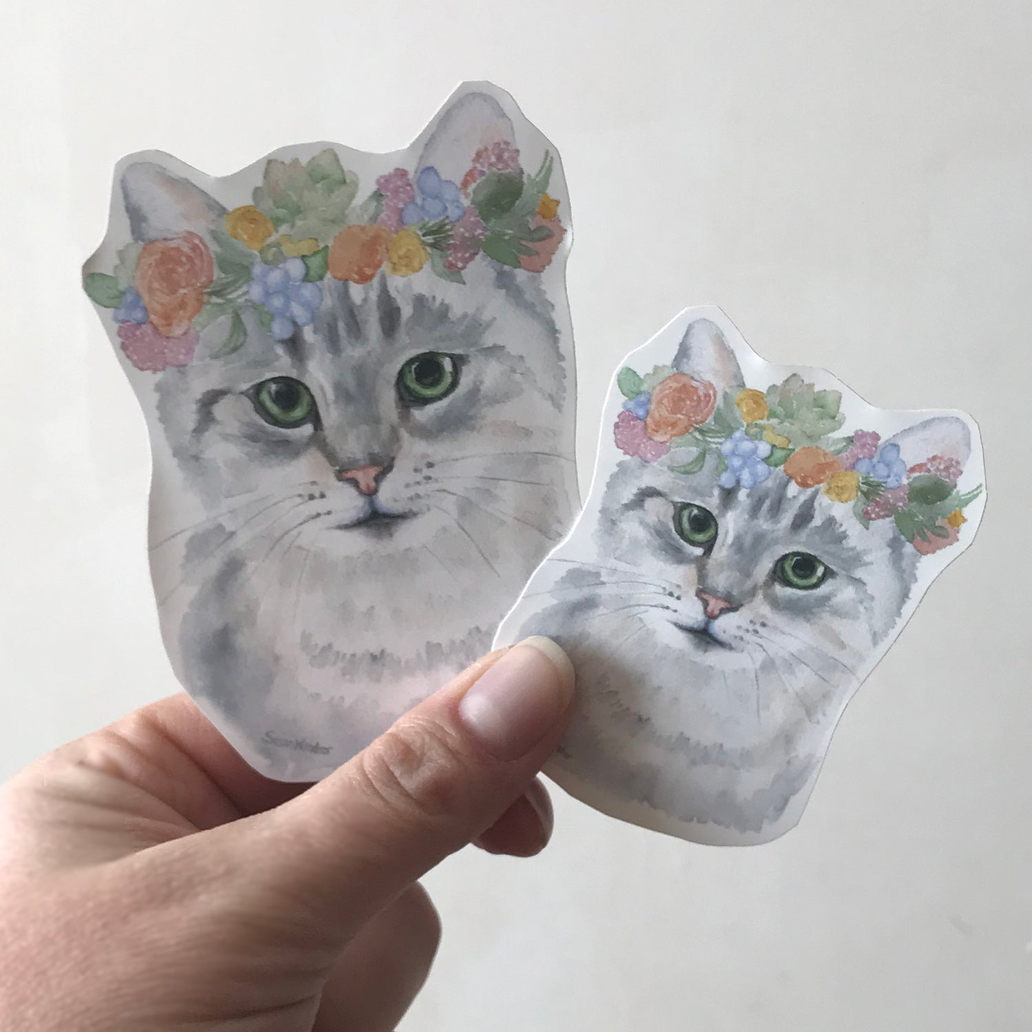 Cat with Floral Crown Sticker