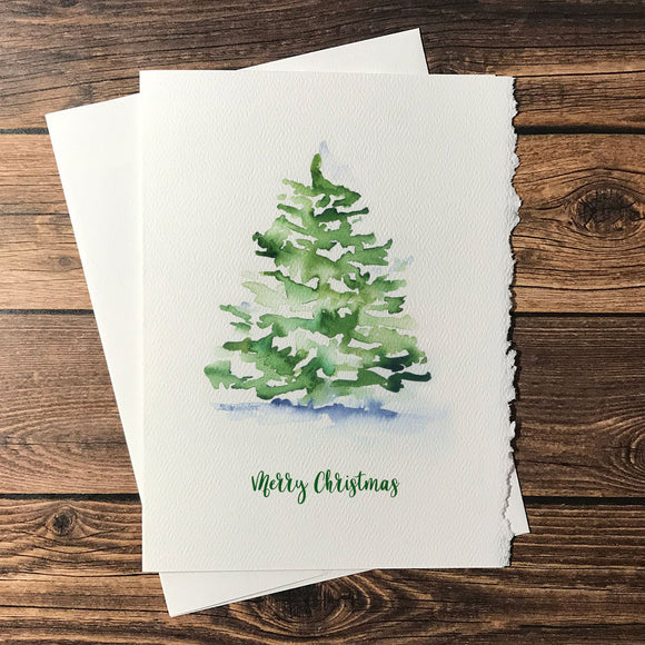 Watercolor Christmas Tree Christmas Cards Set