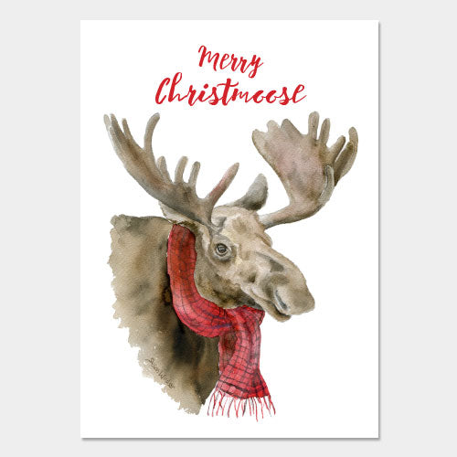 "Merry Christ""moose"" with Scarf Christmas Card Set"