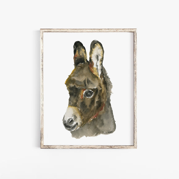 Baby Donkey Watercolor Poster