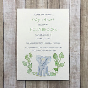 Safari Baby Shower Watercolor Invitation, Elephant Greenery