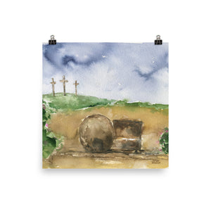 Three Crosses and the Empty Tomb Watercolor