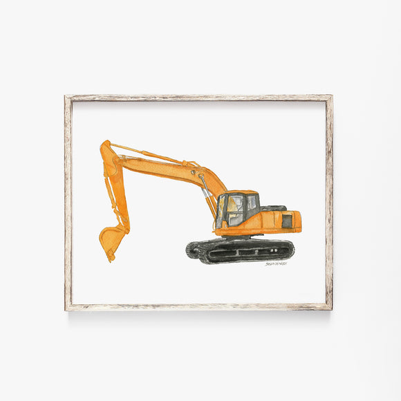 Orange Excavator Truck Watercolor Painting Giclee Print