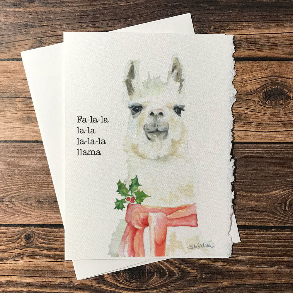 Fa-la-la Llama Watercolor Christmas Card