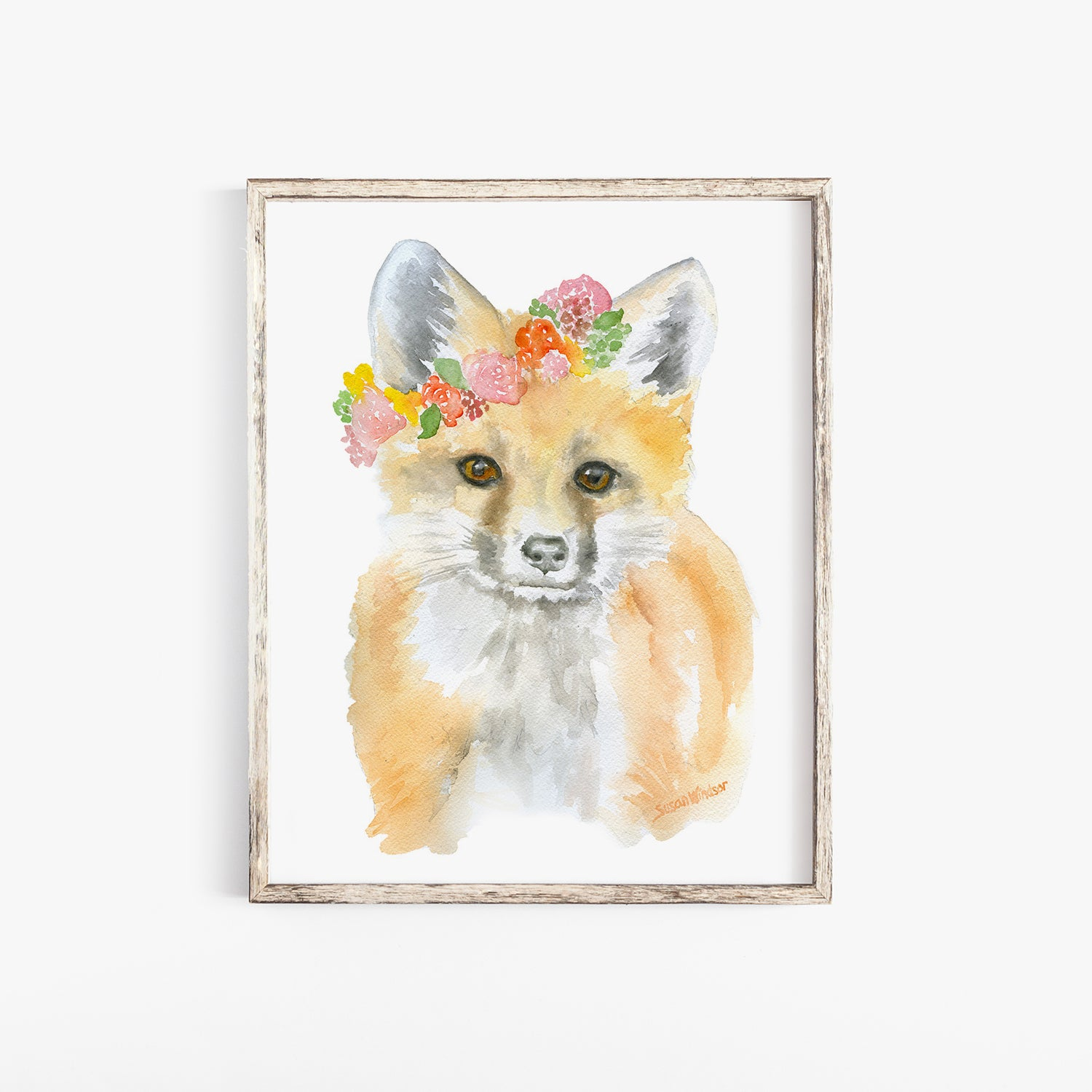Woodland Animal Floral Art Print Set of 3 Animals - Deer, Bunny, and Fox