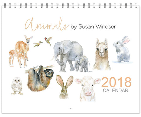 2018 Watercolor Animals Wall Calendar