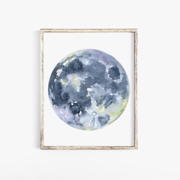 Full Moon Watercolor