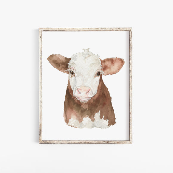 Hereford Cattle Calf Watercolor Giclee Print