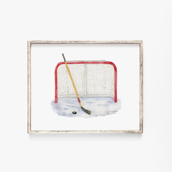 Hockey Watercolor Print