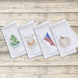 Set of 4 Holiday Flour Sack Tea Towels