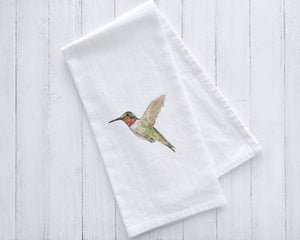 Ruby-Throated Hummingbird Watercolor Bird Tea Towel