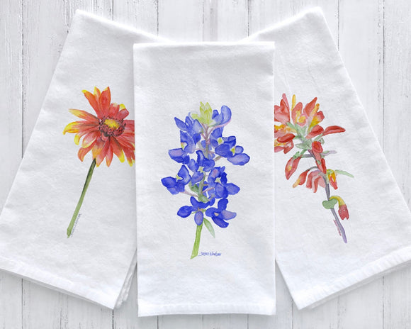 Texas Wildflower Watercolor Flour Sack Tea Towels Set of 3