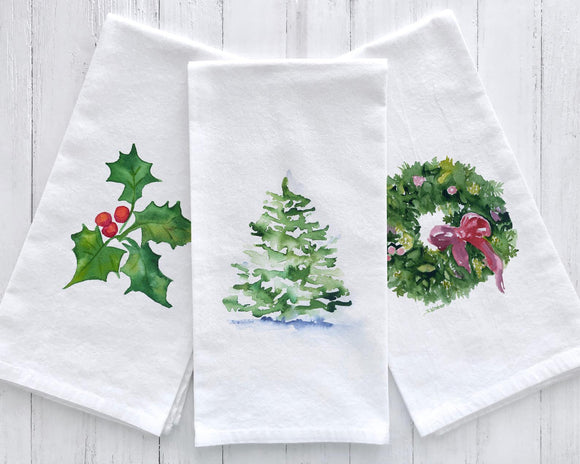 Set of 3 Christmas Watercolor Flour Sack Tea Towels